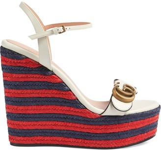 Gucci Double G espadrille wedge sandals