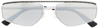 Moschino Square-Frame Metallic-Tone Sunglasses