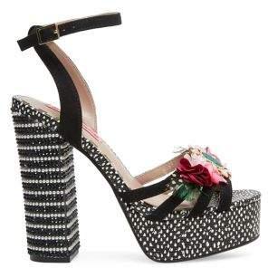 Betsey Johnson Marlo Embellished Floral Ankle-Strap Heeled Sandals