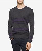 Calvin Klein Men's Merino Striped V-Neck Sweater