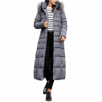 Petalum Women's Thickened Maxi Down Jackets Hooded Long Down Jacket Winter Parka Puffer Coat Grey
