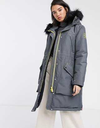 Hunter oversized waterproof parka with faux fur hood trim and borg lining-Grey