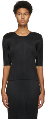 Pleats Please Issey Miyake Black Cropped T-Shirt