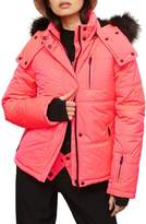 Topshop SNO Rio Faux Fur Hood Neon Puffer Jacket