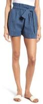 Moon River Women's Stripe Linen & Cotton Paperbag Shorts