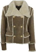 Balmain Shearling Double Breasted Pea Coat