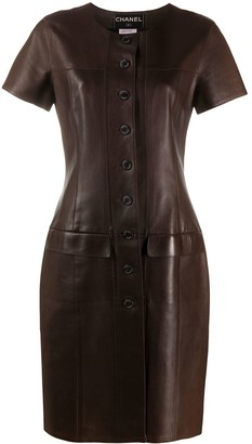 Chanel Pre Owned 1999 Leather Shift Dress