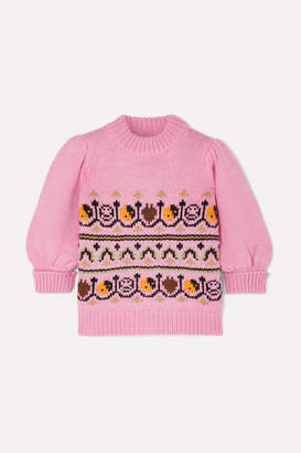 Ganni Intarsia Wool And Alpaca-blend Sweater - Pink