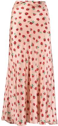 Rixo Vintage Rose satin midi skirt