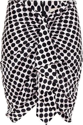 Alexandre Vauthier Draped Polka-dot Stretch-silk Satin Mini Skirt