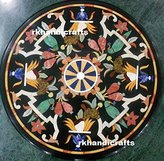 rkhandicrafts Marble Table Top Semi Precious Stone Inlaid Floral Design Round Shape Coffee Table
