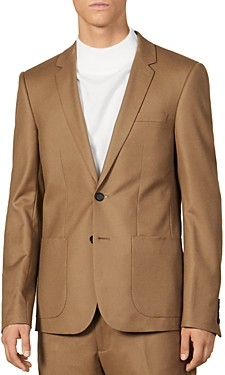 Sandro Notch Flannel 120's Slim Fit Suit Jacket