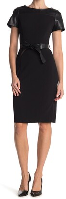 Calvin Klein Belted Faux Leather Accent Sheath Dress