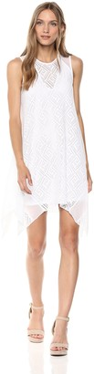 BCBGMAXAZRIA Azria Women's Asymmetrical Geometric Lace A-Line Dress