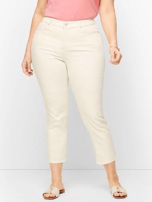 Talbots Plus Size Straight Leg Crop Jeans - Curvy Fit - Vanilla & White