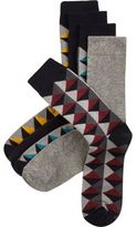 River Island Grey Geometric Socks Pack