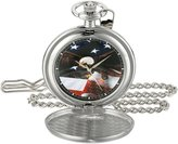EWatchFactory Men's 'EW Flag Eagle Pkt' Quartz Metal Pocket Watch, Color:Black (Model: PW00073)