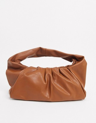 Glamorous slouchy ruched shoulder bag in tan