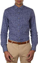 James Harper Webb Micro Leaf Print Slim Fit Shirt