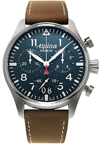 Alpina Al-372n4s6 Startimer Pilot Chronograph Leather Strap Watch, Brown/petrol Blue