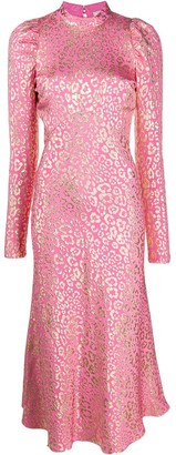 Temperley London Sunset leopard-jacquard midi dress