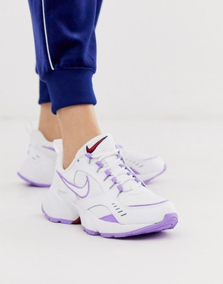 Nike White And Lilac Air Heights Trainers