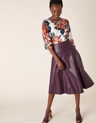 Monsoon Leather-Look Midi Skirt Purple