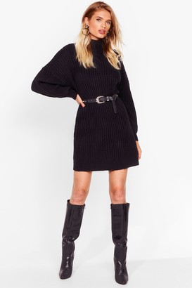 Nasty Gal Womens On a Roll Knitted Turtleneck Dress - Black - L