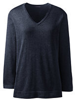 Lands' End Women's Plus Size Cotton Modal 3/4 Sleeve V-neck Sweater-True Navy Heather
