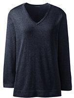 Lands' End Women's Regular Cotton Modal 3/4 Sleeve V-neck Sweater-Fresh Carnation Heather