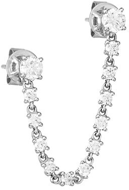 Anita Ko 18K White Gold & Diamond Double-Piercing Loop Single Earring