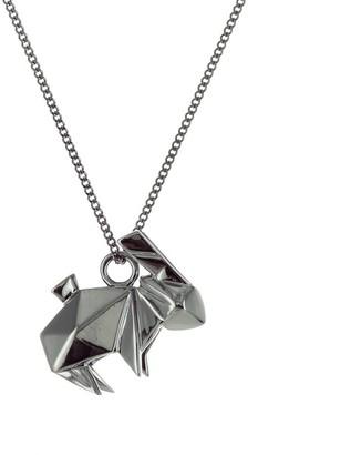 Origami Jewellery Mini Rabbit Necklace Gun Metal