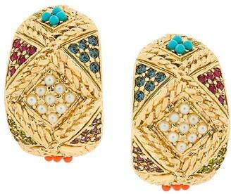 Susan Caplan Vintage 1980s Vintage D'Orlan Colourful Hoop Earrings
