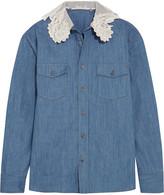 Miu Miu Silk-organza and guipure lace-trimmed denim shirt