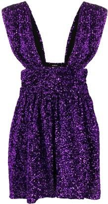 Amen plunge-neck sequin mini dress