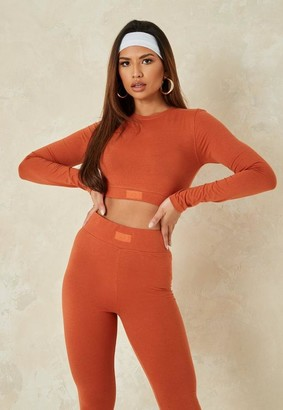 Missguided Rust Co Ord MSGD Long Sleeve Crop Top