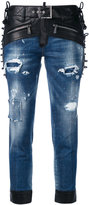 DSQUARED2 Glam Head biker detail jeans - women - Cotton/Calf Leather/Polyester/Spandex/Elastane - 42