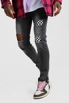 boohoo Mens Grey Skinny Checkerboard Rip & Repair Jeans, Grey