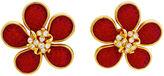 One Kings Lane Vintage Large Red Glass Flower Earrings