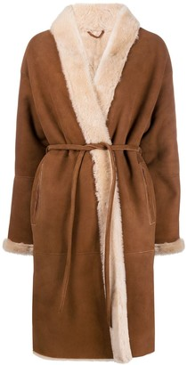 Simonetta Ravizza Belted Faux-Fur Coat