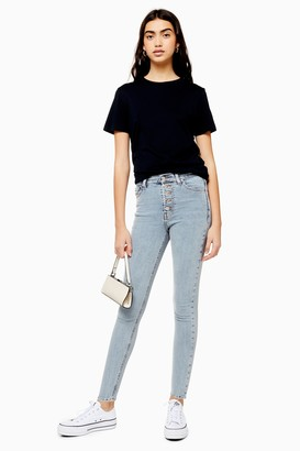Topshop Womens Bleach Button Fly Jamie Jeans - Bleach Stone