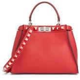 Fendi Medium Peekaboo Studded Calfskin Leather Satchel - Red