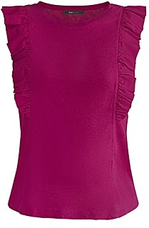BCBGMAXAZRIA Sleeveless Ruffled Top