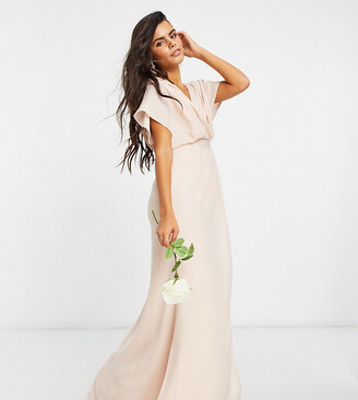 ASOS DESIGN Petite Bridesmaid short sleeved cowl front maxi dress with button back detail