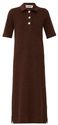 Jil Sander Point Collar Cotton-terry Shirtdress - Womens - Dark Brown