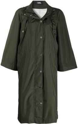 Karl Lagerfeld Paris Hooded Long-Length Raincoat