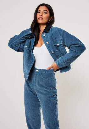 Missguided Blue Co Ord Cord Borg Collar Jacket