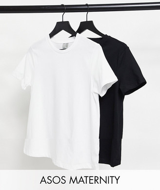 ASOS DESIGN Maternity ultimate organic cotton t-shirt with crew neck 2 pack SAVE