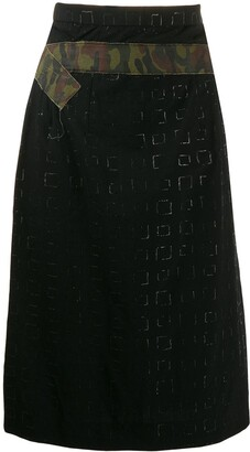 Comme Des Garçons Pre-Owned 2000's Embossed Squared Belted Skirt