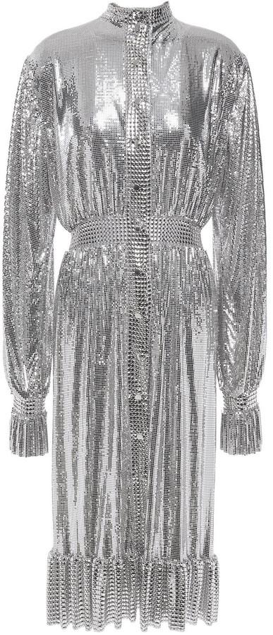 Paco Rabanne Ruffle-trimmed Chainmail Midi Dress